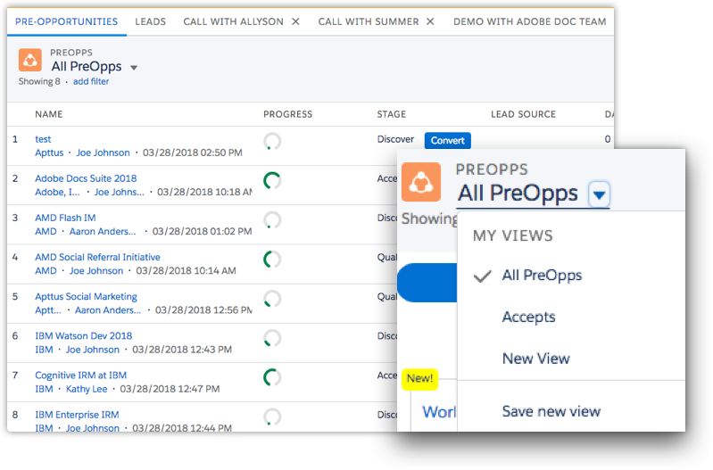 Pre-pipeline list view with customizable views